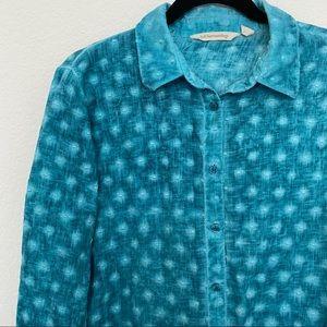 Soft Surroundings Textured Teal Green Long Sleeve Button Down Shirt Size M